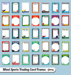 Vector Set: Retro Mixed Sport Trading Card Picture Frames