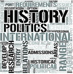 International Relations and History Word Cloud Concept