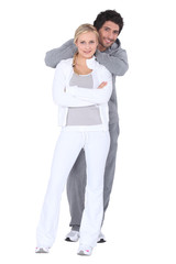 Couple wearing sportswear