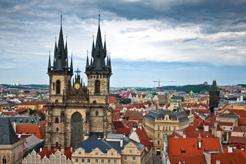 Famous Tyn Cathedral on Old Town square in Prague