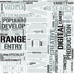 Media Englishand Entertainment Technology Word Cloud Concept