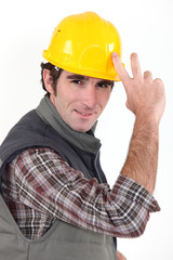 Builder tipping hat