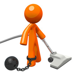 Orange Man Prisoner Vacuuming Ball and Chain