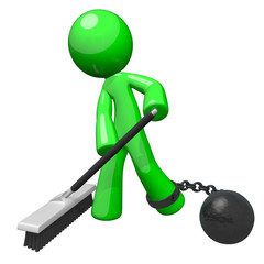 Green Prisoner Sweeping Ball and Chain