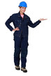Tradeswoman dressed in denim clothing
