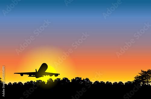 Airplane Sunset on City
