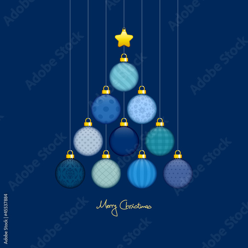 Christmas Tree Hanging Balls Pattern Blue/Gold