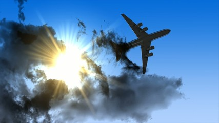 3d animation, airplane fly through cloud.