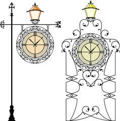 Wrought Iron Clock with Lamp