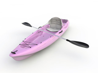 pink kayak isolated on white background