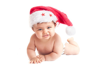 baby with christmas hat