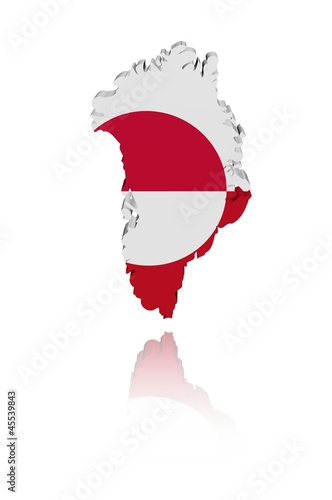 Greenland map flag with reflection illustration