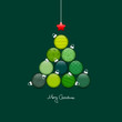 Abstract Christmas Tree Balls Pattern Green Silver