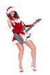 sexy santa woman playing electric guitar