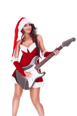 woman santa plays guitar and smiles