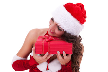 young santa woman with her present
