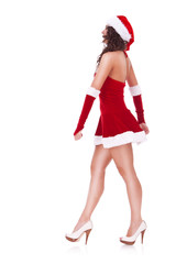 gorgeous santa woman walking