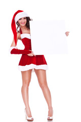 xmas woman holding a board