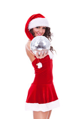 christmas woman with a disco ball