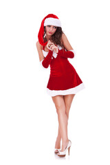 shy young woman in christmas costume