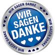 """Button Banner """"Wir sagen danke"""" blau/silber"""