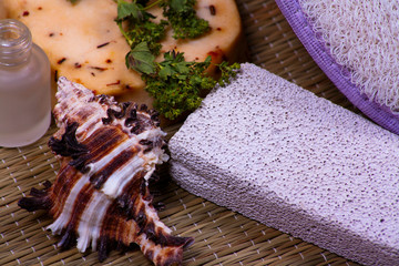 Bath accessories with pumice