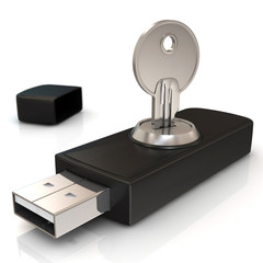 usb flash on white background. Isolated 3D image