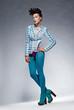 Fashion style - beauty trendy woman in leggings posing