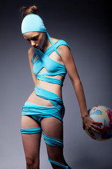Beautiful fashion woman with balloon - creative concept