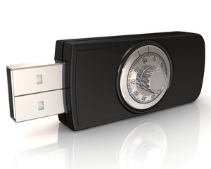 USB flash drive with lock.
