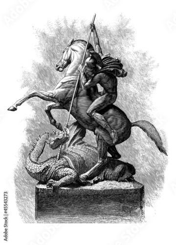 St. George and the Dragon, vintage engraved illustration