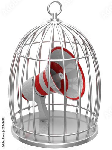 Megaphone in a cage