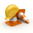 Traffic cones and hardhat isolated on white background
