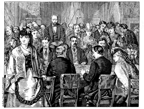 Group in the Salon D'or, Gambling vintage engraved illustration
