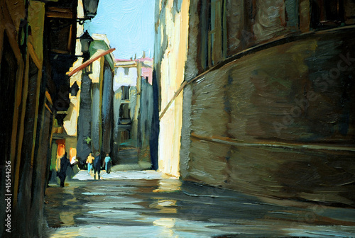 rain in gothic quarter of barcelona. painting by oil on a canvas