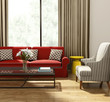 Elegant luxury living room, red  sofa modern village style