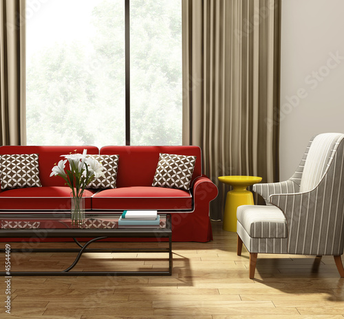 Elegant luxury living room, red  sofa modern village style