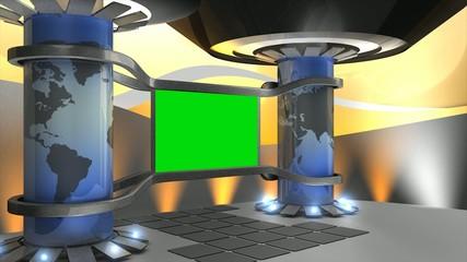 Virtual set, with green screen.