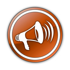 "Orange Glossy Button ""Megaphone / Announcement Symbol"""