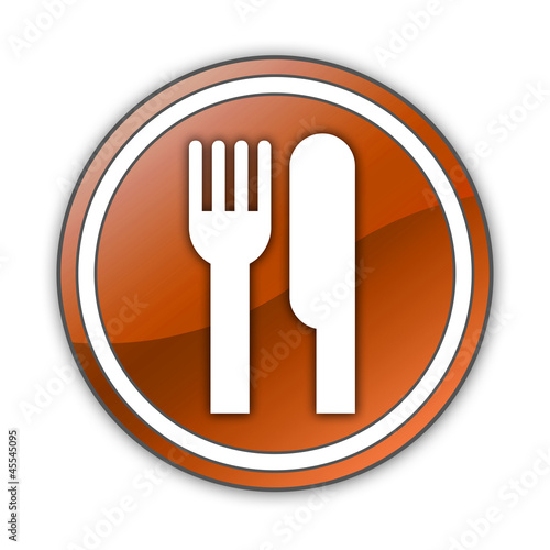 "Orange Glossy Button ""Eatery / Restaurant"""