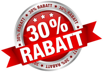 """Button Banderole """"30% Rabatt"""" rot/silber"""