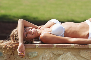 Young beautiful blonde woman relaxing.