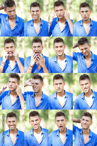 faces collage of a young casual man