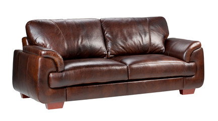 Brown classic luxury leather sofa