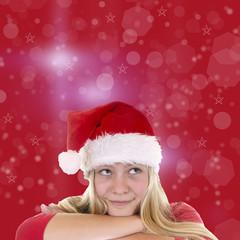 Weiblicher, hübscher Nikolaus denkt nach