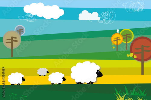 Four sheep traverse the field