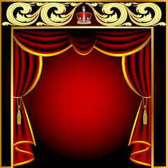 background with theatrical curtain and gold(en) pattern