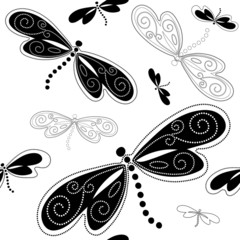 Seamless white-black pattern