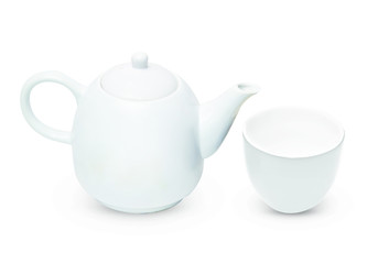 Porcelain pitcher with cup and plate isolated on white