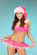 cheerful santa helper girl in lingerie